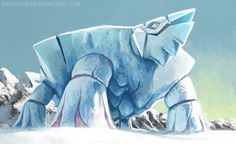 """Avalugg the ice burg pokemon. """"Its ice-covered body is as hard as steel. Its cumbersome frame crushes anything that stands in its way"""". Kalos Pokemon, Ice Pokemon, Cool Pokemon, Pokemon Challenge, Equipe Pokemon, Pokemon Crossover, Pokemon Pocket, Pokemon Official, Pokemon Collection"""