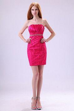 Strapless Modern Pink Bridesmaids Dress - Order Link: http://www.theweddingdresses.com/strapless-modern-pink-bridesmaids-dress-twdn2753.html - Embellishments: Beading , Crystal , Draped , ; Length: Short; Fabric: Lace; Waist: Empire - Price: 95.16USD