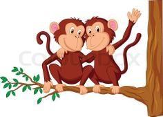 Stock vector of 'Vector illustration of Two monkeys cartoon sitting on a tree'