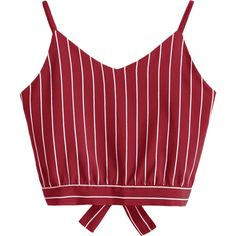 Bowknot Stripes Cut Out Cropped Tank Top ($30) ❤ liked on Polyvore featuring tops, crop top, zaful, striped crop top, red crop top, cut-out shoulder tops, cut-out crop tops and cutout tops