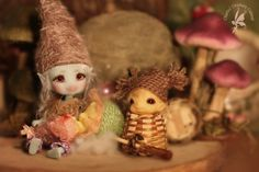 Bluebird babysitting wee Ginger Root Gnome Woodlings  ~CCC Bluebird of Happiness, Firefly Faerie 12cm Glow-in-the-Dark blue ~Cabinet of Wonders issa MORIKO Dreaming & Open Eyes artist/designer toy figurine 5cm ~Outfits by Lin Murasaki Design & Fae Enchantment