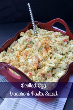 Combine your love of deviled eggs and pasta salad in this Deviled Egg Macaroni Pasta Salad Recipe. It is the perfect summer side dish! Combine your love of deviled eggs and pasta salad in this Deviled Egg Macaroni P. Macaroni Pasta Salad, Pasta Salad Recipes, Noodle Recipes, Deviled Egg Macaroni Salad Recipe, Deviled Egg Potato Salad, Recipe Pasta, Pasta Dishes, Food Dishes, Pasta Food