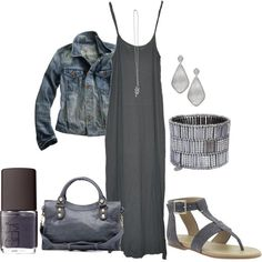 Shades of Grey, created by - love the simple maxi with denim jacket look. Stylish Outfits, Cute Outfits, Fashion Outfits, Womens Fashion, Female Fashion, Style Fashion, Fashion Ideas, Comfy Casual, Casual Wear