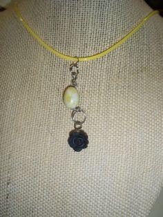 PERIDOT jasper barrel shaped stone bead and BLACK rose necklace