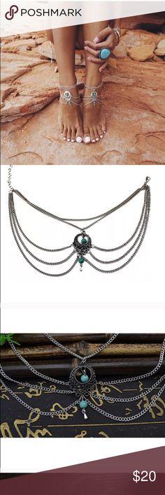 2 bracelets foot Summer bracelet bohemian foot turquoise carving flower ankle Jewelry Bracelets