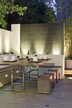 contemporary garden. love this outdoor fireplace! would like the ... - Outdoor Patio Design Ideen