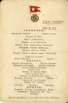 Menú de la última cena en el Titanic.