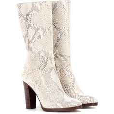 Chloé Snakeskin Boots (11 735 SEK) ❤ liked on Polyvore featuring shoes, boots, neutrals, snake skin shoes, gray boots, snake print shoes, python boots and python shoes