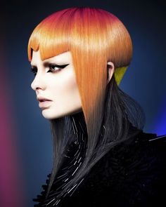 Wella Professionals TrendVision 2015 Australia and New Zealand Gold Winner - Chung-yang Su – Rokk Ebony Creative Hairstyles, Unique Hairstyles, Wig Hairstyles, Pelo Mohawk, Competition Hair, Avant Garde Hair, Corte Y Color, Extreme Hair, Edgy Hair