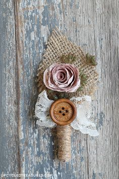 How to make book page flowers for vintage inspired boutonnieres. {ahandcraftedwedding.com}