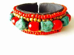 Handmade bracelet from Dharamsala, India. Semi-precious stones of coral and turquoise. Lined with cotton for maximum comfort. Dharamsala, Coral Bracelet, Coral Turquoise, Handmade Bracelets, Handmade Items, My Etsy Shop, Stones, India, Cotton
