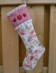 Stockings - Christmas Stocking - Floral Stocking - Vintage Stocking - Holiday Stocking - Traditional Stocking - Ruffled Stocking. $24.00, via Etsy.