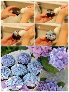 cupcakes dekorieren   kleine blumen mit tortenspritze machen