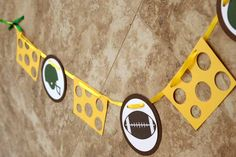 Green Bay Packers - football - cheesehead green and yellow party banner for birthday or party (11 Characters)