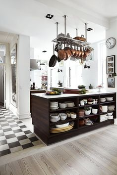 60 Beautiful and inspiring decorated yellow kitchens - Home Fashion Trend Copper Kitchen, Kitchen Dining, Kitchen Decor, Kitchen Ideas, Kitchen Island, Scandinavian Home, Cool Kitchens, Furniture Design, New Homes