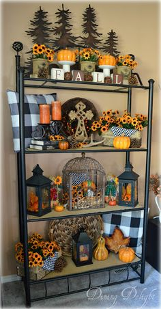 Fall Decor on the Etagere Rustic Thanksgiving Decor, Thanksgiving Decorations, Seasonal Decor, Halloween Home Decor, Fall Home Decor, Autumn Home, Bookcase Makeover, Sideboard Decor, Fall Arrangements