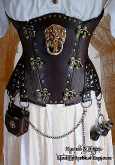 "32"" waist Steampunk Brass Lion Explorer Corset ""Veggie""' Leather -  By Harlots and Angels Corsetry. Visit their Etsy website at: http://www.etsy.com/listing/100625513/32-waist-steampunk-brass-lion-explorer"