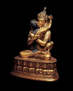 18th century, Mongolia, Vajradhara with consort, gilt copper alloy with cold gold and pigments, private collection