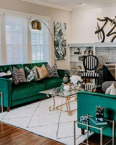 [New] The 10 Best Home Decor (with Pictures) - Living Room Happy Monday Social Fam and Hello Good Looking Black And Gold Living Room, Living Room Green, Green Rooms, Rugs In Living Room, Living Room Designs, Style Cottage, Living Room Update, Living Room Accents, Living Room Inspiration