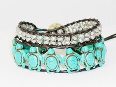 Turquoise Wrap Leather Bracelet with Silver Colour by dsthaiShop