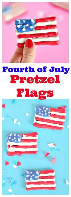 Fourth of July Pretzel Flags #fourthofjuly #fourthofjulydessert #nobakedessert #partydessert #chocolatepretzels