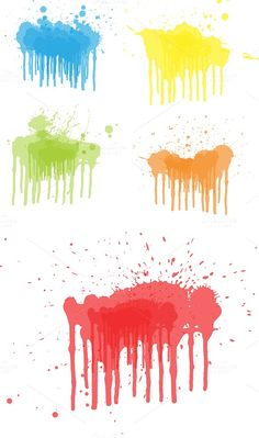 Dripping Paints Vector Set by TrueMitra Designs on @creativemarket