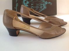 Salvatore Ferragamo Heels 6.5 Aa Open Toe Taupe Leather #SalvatoreFerragamo #Slingbacks #WeartoWork