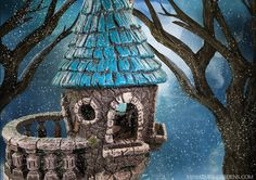 A castle fairy house in your miniature fairy garden.