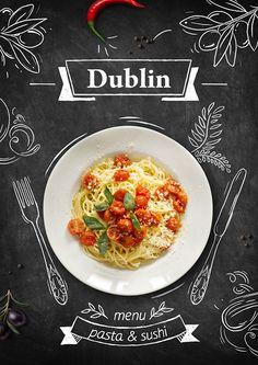 shushi&pasta menu on Behance Food Graphic Design, Food Poster Design, Food Menu Design, Pizza Menu Design, Menu Restaurant, Restaurant Design, Cafeteria Menu, Pasta Menu, Design Package