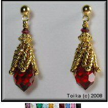 Swarovski Crystal Drop Earrings 1 Pattern by Toika Bridges  www.bead-patterns...