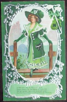 1910 Embossed Silvered Postcard, Stylish Irish Colleen, Silver Shamrocks, Harps, Pipes, Bag o' Gold -- -- please visit my shop, Collecting Memories on Ruby Lane.com!
