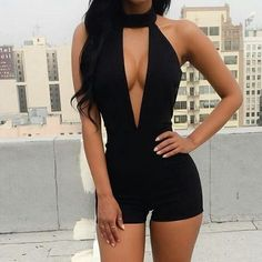 2017 Womens Rompers Overalls Clothing Sexy Deep V-Neck Black Sleeveless Backless Shorts Jumpsuit Fashion Summer Casual Jumpsuits Sexy Outfits, Club Outfits For Women, Summer Outfits, Girl Outfits, Fashion Outfits, Vegas Outfits, Rompers Women, Jumpsuits For Women, Night Out Outfit Clubwear