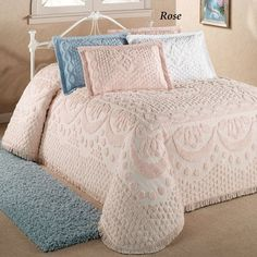 The chenille bedspreads are basically made from woven plush cotton with fringed edges. The artwork comes as handmade details, such as rosebuds