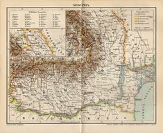 1897 Original Antique Map of Romania by CabinetOfTreasures on Etsy Old Maps, Antique Maps, Romania Map, Page Maps, Vintage World Maps, The Originals, Antiques, Handmade Gifts, Illustration