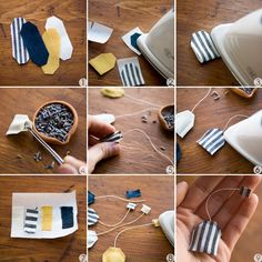 DIY: miniature tea bag shaped sachet