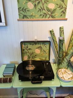 Decorating With Gift Wrap   3 Different Ways - Make an art print, line a record player, cover a notebook.