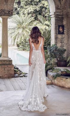 85bb9375e2 anna campbell 2019 bridal sleeveless v neck full embellishment romantic  pretty modified a line wedding dress