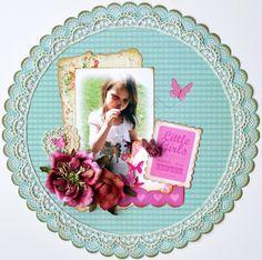 Little Girls ~My Creative Scrapbook~ - Scrapbook.com - Love this page. #scrapbooking #layout #kaisercraft #timholtz #prima