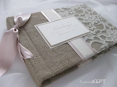 Baby Shower Guest Book-comes with 48 Mini Envelopes and note cards and blank pages for photos. $136,04, via Etsy.