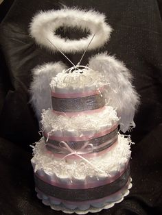 Heaven Sent 3 Tier Diaper Cake by tendermomentsllc on Etsy, $69.95