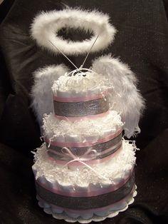 Heaven Sent 3 Tier Diaper Cake by tendermomentsllc on Etsy, $69.95