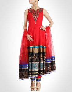 Red anarkali speaks of regality, layered over mesh lining for flare. Shop Now: www.kimaya.in