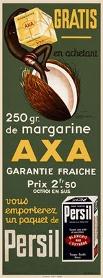 Vintage Advertising Posters   Axa Margarine   Circa 1920
