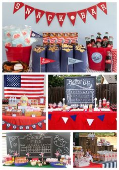 Lovely Events The Best Baseball Party Concession Stands Baseball Theme Birthday, Sports Birthday, Sports Party, First Birthday Parties, Birthday Party Themes, Boy Birthday, Boys First Birthday Party Ideas, Usa Party, Softball Party