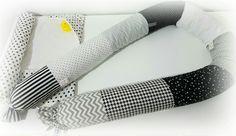 Baby bed/crib bumper. Baby head protector. Snake pillow. Black , grey, white. Nursery rooms design. Design pillows.