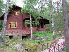 Langinkoski Imperial Fishing Lodge - located at a rapid on the Kymi river in Kotka, Finland : When Alexander III visited Langinkoski as an Emperor for the first time in the summer of 1887 accompanied by his wife, they were immediately enchanted by the place, and made a pledge to return; the Emperor and Empress expressed a wish to have a fishing lodge built beside the rapids.  The festive inauguration of the lodge took place in the summer of 1889.