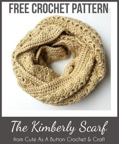 "The Kimberly Scarf FREE CROCHET PATTERN by Cute As A Button ""This infinity scarf has such an elegant and tidy feel! It uses a delicate petal or shell-like stitch for most of the body, and then is finished off with a straight, simple border. Crochet Simple, Love Crochet, Double Crochet, Knit Crochet, Crochet Granny, Crochet Vests, Crochet Cape, Crochet Triangle, Crochet Shirt"