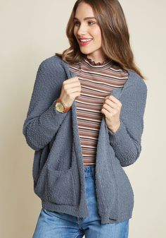 Whether you're weaving, woodworking, or just doing up your DIY dreams, you'll keep wonderfully warm in this muted blue cardigan! Nubby knit with just enough...
