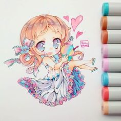 Image about cute in chibi by andrea on we heart it Chibi Anime, Kawaii Chibi, Cute Chibi, Kawaii Art, Kawaii Anime, Copic Drawings, Kawaii Drawings, Cute Drawings, Copic Marker Art
