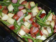 Smoked Sausage with Potatoes and Green Beans. Looks like a yummy/easy recipe I will have to try this week.
